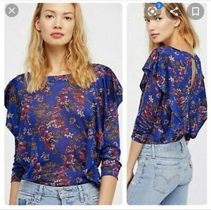 Free People Dock street floral ruffle top